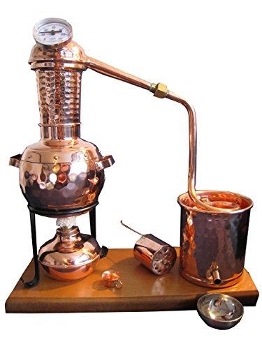 """Schnaps selber machen - Destille 0,5 Liter Modell """"Kalif"""" mit Aromakorb, Thermometer und Spiritusbrenner (aktuelles Modell; Premiumedition mit Spiritusbrenner, Aromakorb und zusätzlichem Destillatauffangbecher). Ideal für die Herstellung von Schnäpsen, Geisten und ätherischen Ölen (Hydrolate). - 1"""