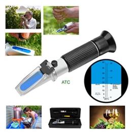 HH-Tec Winzer Refraktometer Alkohol:0-25% Zucker:0-40% mit ATC für Winzer Wein Alkohol Traubensaft Bier Frucht Wein Refraktometer Brix zur Messung des Zuckeranteils - 1