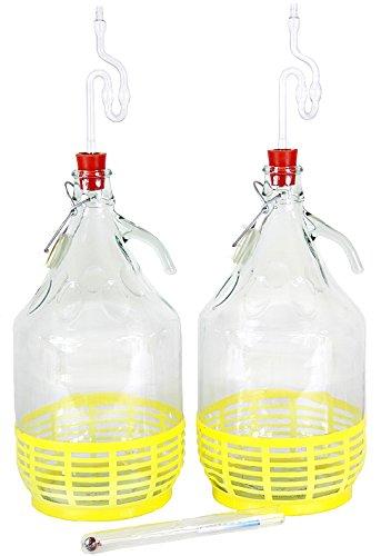 Starter-Set 7-teilig 2x5L Weinballon + Gumistopfen + alkoholmeter + Gärröhrchen - 1