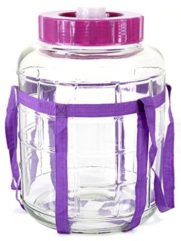Universelles Glas Weinballon mit Gärsystem Glasballon Einmachtopf 5 L - 1